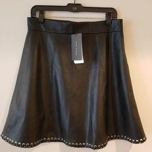 NWT Zara Black Faux Leather Skirt Grommet Detail L